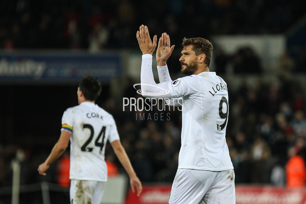 Fernando Llorente applauds the Swansea City fans, after the final whistle, during the Premier League match between Swansea City and Crystal Palace at the Liberty Stadium, Swansea, Wales on 26 November 2016. Photo by Andrew Lewis.