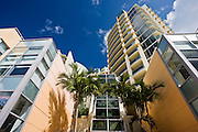 Art deco architecture, in pastel colors high rise apartment blocks at Miami South Beach, Florida USA