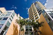 Art deco architecture, in pastel colors high rise apartment blocks at Miami South Beach, Florida USA