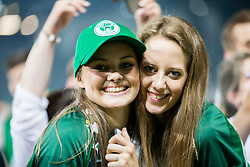 Supporters of Olimpija after winning during football match between NK Aluminij and NK Olimpija Ljubljana in the Final of Slovenian Football Cup 2017/18, on May 30, 2018 in SRC Stozice, Ljubljana, Slovenia. Photo by Vid Ponikvar / Sportida