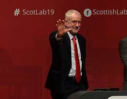 Labour leader Jeremy Corbyn listens to the keynote speech by Scottish Labour leader Richard Leonard at the Scottish Labour spring conference 2019 in Dundee.<br /> <br /> &copy; Dave Johnston / EEm