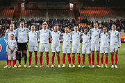 England Ladies line up before the Women's International Friendly match between England Ladies and Italy Women at Vale Park, Burslem, England on 7 April 2017. Photo by Mark P Doherty.
