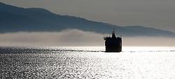 MV Isle of Mull appears through a bank of fog as it approaches the entrance to Oban Bay. (c) Stephen Lawson | Edinburgh Elite media