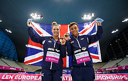 Grace Reid and Tom Daley of Great Britain celebrate with their medals after winning Gold in the Mixed 3m Synchronised Springboard - Mandatory byline: Rogan Thomson/JMP - 11/05/2016 - DIVING - London Aquatics Centre - Stratford, London, England - LEN European Aquatics Championships 2016 Day 3.