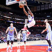 02 October 2015: Los Angeles Clippers center DeAndre Jordan (6) dunks the ball past Denver Nuggets center Nikola Jokic (15) during the Los Angeles Clippers 103-96 victory over the Denver Nuggets, in a preseason game, at the Staples Center, Los Angeles, California, USA.