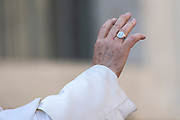 Vatican City - February 27, 2019: Pope Francis hand during his weekly general audience in St. Peter's Square at the Vatican.