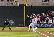 Albert Pujols #5 of the Los Angeles Angels is thrown out at 1st base to end the game against the Minnesota Twins on April 16, 2013 at Target Field in Minneapolis, Minnesota.  The Twins defeated the Angels 8 to 6.  Photo: Ben Krause