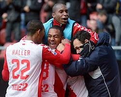 13-12-2015 NED: FC Utrecht - AFC Ajax, Utrecht<br /> Utrecht verslaat Ajax opnieuw in de Galgenwaard 1-0 / Yassin Ayoub #6 scoort de winnende treffer. Bart Ramselaar #23 gaf de assist, Patrick Joosten #37, Nacer Barazite #10, Louis Nganioni #20