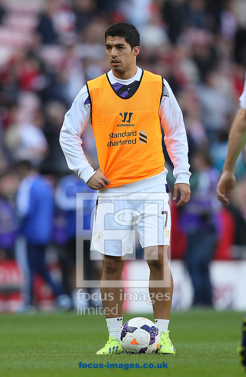 Picture by Paul Gaythorpe/Focus Images Ltd +447771 871632<br /> 29/09/2013<br /> Luis Suarez of Liverpool before the Barclays Premier League match against Sunderland at the Stadium Of Light, Sunderland.