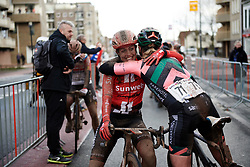 Lucinda Brand (NED) hugs Roxane Knetemann (NED) after Ronde van Drenthe 2019, a 165.7 km road race from Zuidwolde to Hoogeveen, Netherlands on March 17, 2019. Photo by Sean Robinson/velofocus.com