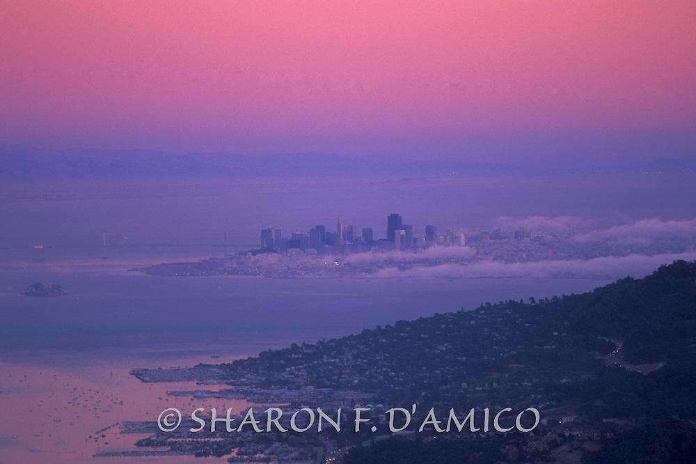 Ocean Fog Enshrouds the Bay and City at Twilight, San Franscisco, California