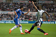Newcastle United Kevin Mbabu makes a vital tackle during the Barclays Premier League match between Newcastle United and Chelsea at St. James's Park, Newcastle, England on 26 September 2015. Photo by Craig McAllister.
