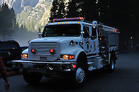 Emergency Vehicle. Rock Slide at Curry Village in Yosemite Valley on 07-October-2008.