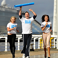 Great Scottish Run.Glasgow celebs launch the relay for this years event at City Inn, Finnieston..L-R Heather Suttie, Andrew Agnew, Nieve Jennings