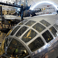 The Boeing B-29 Superfortress, this specific aircraft, the Enola Gay, dropped the first nuclear bomb on Hiroshima, Japan bringing about the end of WWII in the Pacific theater. Close up of canopy.