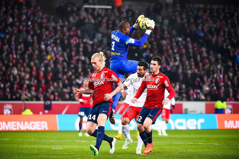 Simon KJAER / Ezequiel LAVEZZI / Sebastien CORCHIA / Vincent ENYEAMA - 03.12.2014 - Lille / Paris Saint Germain - 16eme journee de Ligue 1 -<br />Photo : Fred Porcu / Icon Sport