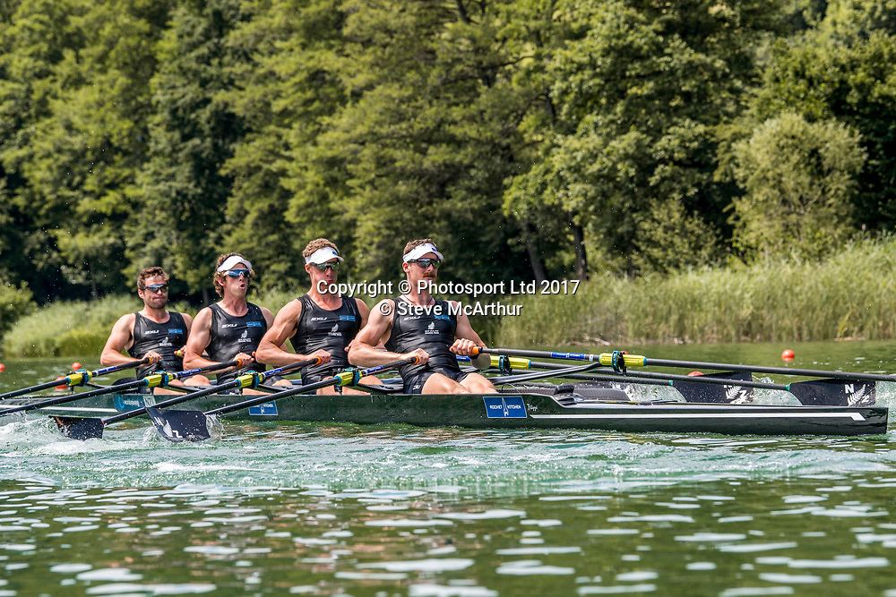 Lewis Hollows (West End RC), Cameron Crampton (Timaru RC), Nathan Flannery (Union Christchurch RC) and Giacomo Thomas (Hawkes Bay RC) NZ Mens Quadruple Scull racing the qualification heat at WCIII on the Rotsee, Lucerne, Switzerland, Friday 7th July 2017 © Copyright Steve McArthur / www.photosport.nz
