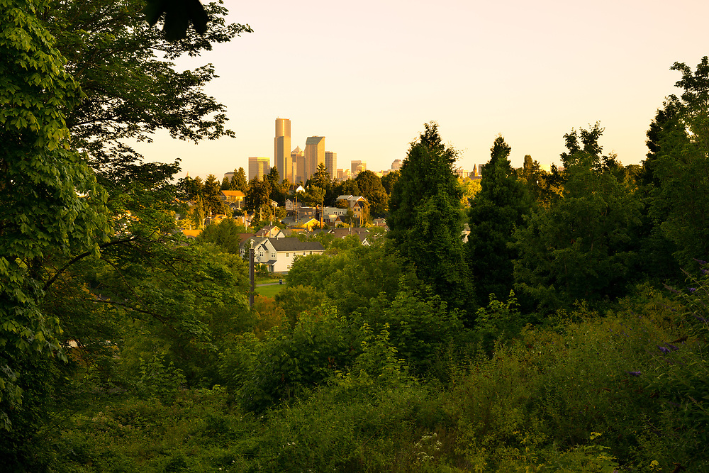 Downtown skyline and Mount Baker neighborhood, Rainier Valley District, Seattle, Washington State, USA