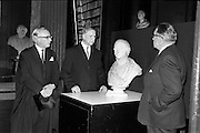 20/06/1963.06/20/1963.20 June 1963.Opening of Theobald Wolf Tone exhibition at T.C.D. to commemorate the bicentenary; (l-r) Dr. A. J. McConnall, Provost T.C.D., President Eamon de Valera, who opened the exhibition and An Taoiseach Mr. Sean Lemass, viewing a bust of Wolfe Tone.