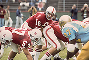 COLLEGE FOOTBALL: Stanford v UCLA, October 11, 1975 at Stanford Stadium in Palo Alto, California.  Mike Cordova #16, Alex Karakazoff #67.