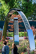 The arched waterfall of the Positively Stoke on Trent garden. The Chelsea Flower Show 2014. The Royal Hospital, Chelsea, London, UK.  19 May 2014.