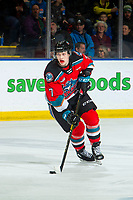 KELOWNA, BC - DECEMBER 18: Conner McDonald #7 of the Kelowna Rockets skates with the puck against the Vancouver Giants at Prospera Place on December 18, 2019 in Kelowna, Canada. (Photo by Marissa Baecker/Shoot the Breeze)