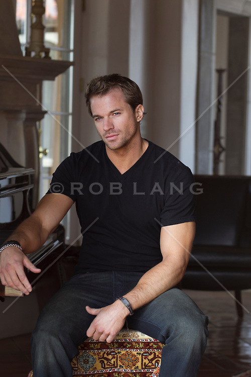All American man at home in deep thought