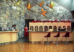 Pyongyang, North Korea, April/May 2004. Hotel bar in Pyongyang, the posh Yanggakdo Hotel. (Photo by Teun Voeten) *** Please Use Credit from Credit Field ***
