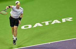 DOHA, Jan. 8, 2017  Andy Murray of Britain serves to Novak Djokovic of Serbia during the men's singles final of the ATP Qatar Open tennis tournament at the Khalifa International Tennis Complex in Doha, capital of Qatar, on Jan. 7, 2017. Djokovic won 2-1 to claim the title. (Credit Image: © Nikku/Xinhua via ZUMA Wire)
