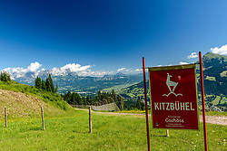 THEMENBILD - Der Blick in das Gschöss mit dem Wilden Kaiser und dem Kitzbüheler Horn im Hintergrund, aufgenommen am 26. Juni 2017, Kitzbühel, Österreich // The view into the Gschöss with the Wilder Kaiser and the Kitzbüheler Horn in the background at the Streif, Kitzbühel, Austria on 2017/06/26. EXPA Pictures © 2017, PhotoCredit: EXPA/ Stefan Adelsberger