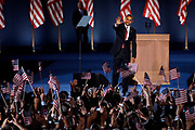 Chicago, Illinois, USA, 20081105:   Presidential Candidate Barack Obama holds his acceptance speech on Hutchinson Field in Grant Park in Chicago, after being elected the next President of the United States<br /> <br /> Photo: Orjan F. Ellingvag/ Dagbladet/ Corbis