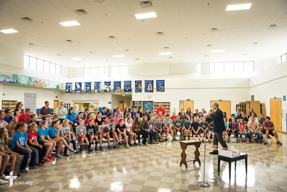 The Rev. Dr. James Lamb, retiring executive director of Lutherans for Life, leads an Owen's Mission presentation to students at Trinity Lutheran School on Monday, August 31, 2015, in Bloomington, Ill. LCMS Communications/Erik M. Lunsford
