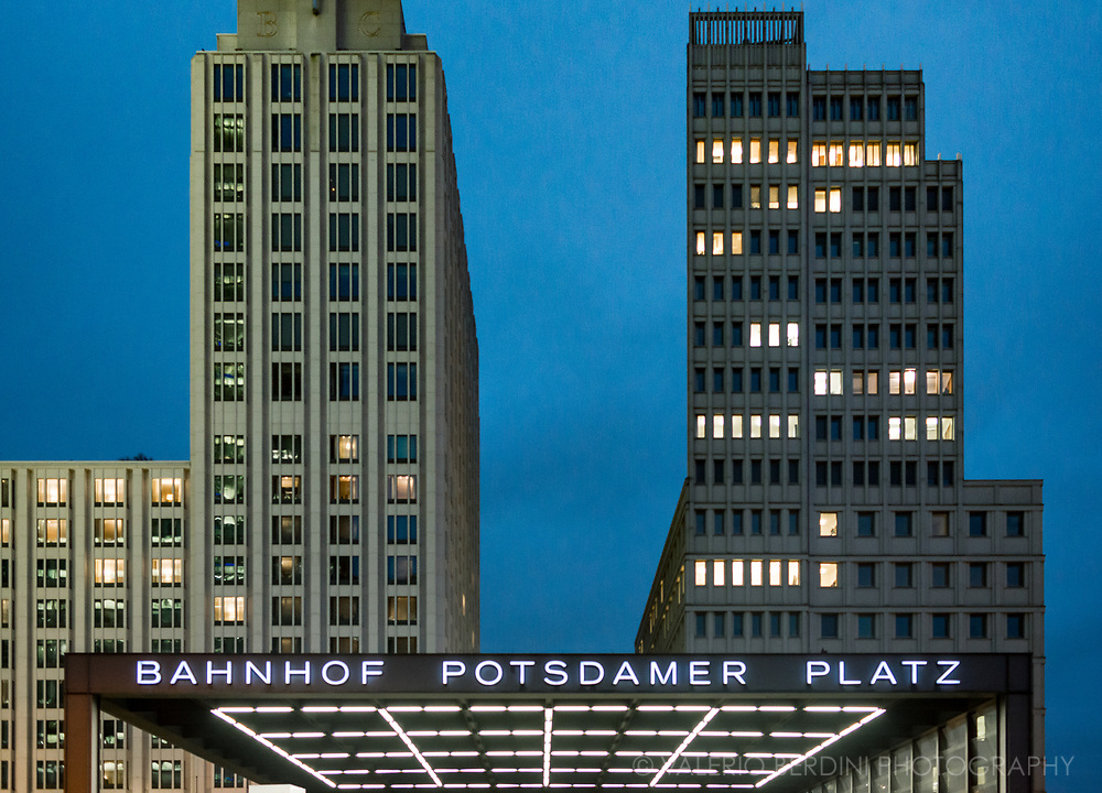 Architecture in Potsdamer platz in Berlin boosted after the fall of the wall in 1989