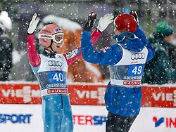 29.12.2014, Schattenbergschanze, Oberstdorf, GER, FIS Ski Sprung Weltcup, 63. Vierschanzentournee, Podium, im Bild vl. nr. zweiter Platz , Sieger , dritter Platz Stefan Kraft (AUT) // Stefan Kraft of Austria und Michael Hayboeck (AUT) // Michael Hayboeck of Austria// from left to right second Placed , Winner, third Place celebrate on Podium of 63 rd Four Hills Tournament of FIS Ski Jumping World Cup at the Schattenbergschanze, Oberstdorf, Germany on 2014/12/29. EXPA Pictures © 2014, PhotoCredit: EXPA/ Peter Rinderer