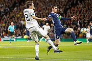 Andy Robertson (Liverpool) blocks the cross from M?rio Fernandes (CSKA Moscow) during the UEFA European 2020 Qualifier match between Scotland and Russia at Hampden Park, Glasgow, United Kingdom on 6 September 2019.