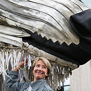 Emma Thompson, a staunch supporter of the Arctic and Greenpeace poses with Aurora. Greenpeace and the giant polar bear Aurora outside Shell London HQ.  'Save the Arctic' is a long running campaign by Greenpeace targeting oil companies like Shell. Greenpeace wants oil exploration in the Arctic to stop and the giant polar bear Aurora has spend the past 4 weeks outside Shell's London HQ demanding Shell to stop drilling for oil. On Monday Sept 28 Shell announced they would stop drilling, a huge victory for Greenpeace and the environment movement.