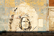 Geronimo, mural, painted by Bart Vroman in 1979 on the former Gambles general store, Shoshoni, Wyoming