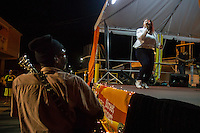 Gros Islet, Saint Lucia: A singer performs at Christian revival event on Good Friday.
