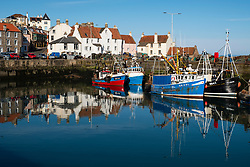 Fishing harbour with many fishing boats at Pittenweem in East Neuk of Fife, Scotland, United Kingdom