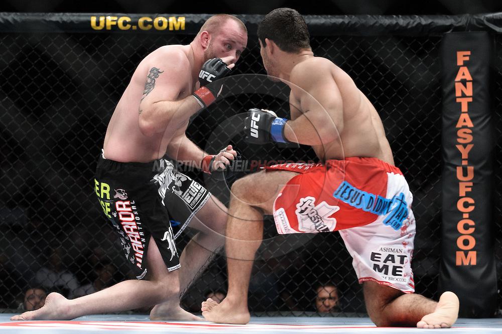 "DUBLIN, IRELAND, JANUARY 17, 2009: Jeremy Horn (left) and Rousimar Palhares during ""UFC 93: Franklin vs. Henderson"" inside the O2 Arena in Dublin, Ireland"