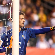 Venezuela Keeper DANIEL HERNANDEZ (12) directs traffic from the goal in the second half of a Copa America Centenario Group C match between Uruguay and Venezuela Thursday, June. 09, 2016 at Lincoln Financial Field in Philadelphia, PA.