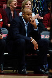 Feb 16, 2012; Stanford CA, USA; Oregon State Beavers head coach Craig Robinson sits on the bench against the Stanford Cardinal during the first half at Maples Pavilion.  Mandatory Credit: Jason O. Watson-US PRESSWIRE