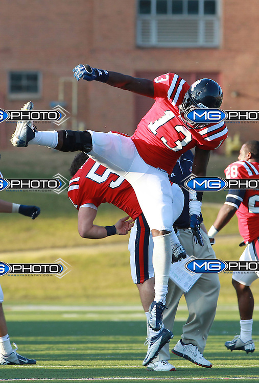 Samford linebacker Durell Hill  celebrates after stopping Wofford in overtime at Seibert Stadium in Homewood, Ala., Saturday, Oct 13, 2012. Samford defeats Wofford 24-17 in Overtime. (Marvin Gentry)