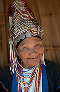 Smiling women of Aka Hill Tribe in the near of Chiang Rai, Thailand.