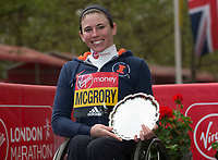 Wheelchair Women's Race second place finisher Amanda McGrory USA. The Virgin Money London Marathon, 23rd April 2017.<br /> <br /> Photo: Jed Leicester for Virgin Money London Marathon<br /> <br /> For further information: media@londonmarathonevents.co.uk