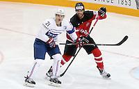 Antoine ROussel / Aaron Ekblad - 09.05.2015 - Canada  / France  - Championnats du Monde de Hockey sur Glace 2015 -Prague<br />Photo : Xavier Laine / Icon Sport