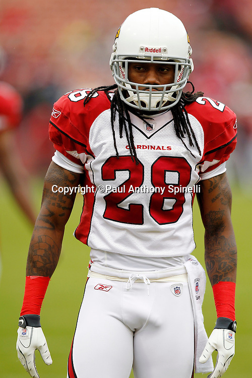 Arizona Cardinals cornerback Greg Toler (28) looks on during the NFL week 17 football game against the San Francisco 49ers on Sunday, January 2, 2011 in San Francisco, California. The 49ers won the game 38-7. (©Paul Anthony Spinelli)