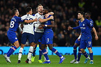 Football - 2019 / 2020 Premier League - Tottenham Hotspur vs. Chelsea<br /> <br /> Tottenham Hotspur's Harry Kane and Chelsea's Antonio Rudiger separate Dele Alli and Mateo Kovacic in the first half, at The Tottenham Hotspur Stadium.<br /> <br /> COLORSPORT/ASHLEY WESTERN