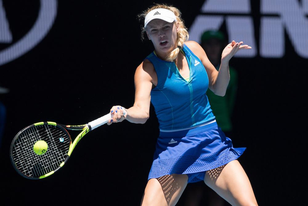Caroline Wozniacki on day four of the 2017 Australian Open at Melbourne Park on January 19, 2017 in Melbourne, Australia.<br /> (Ben Solomon/Tennis Australia)