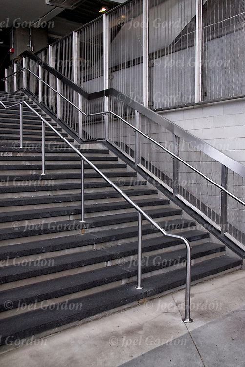 """Vanishing interior stairway in Yankee Stadium. Concept of stairs """" leading up to success"""" and  """"what it beyond?"""""""